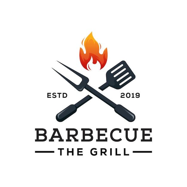 Barbecue Le Vecteur Premium Modèle De Logo Grill Vecteur Premium