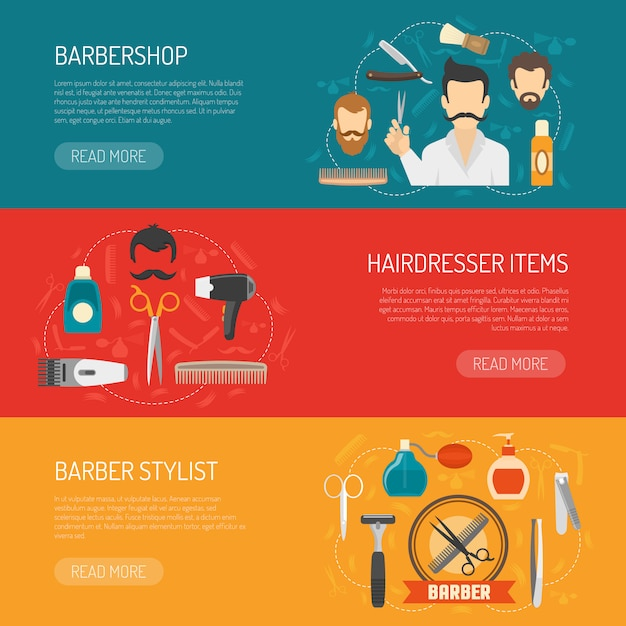 Barber horizontal banner Vecteur gratuit