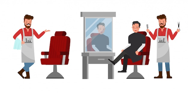 Barber Set Character Vecteur Premium