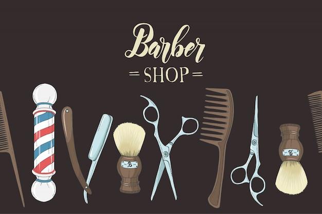Barber shop avec rasoir dessiné à la main, ciseaux, blaireau, peigne, salon de coiffure classique pole on black. Vecteur Premium
