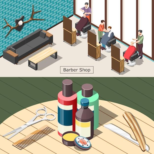 Barbershop Illustration Isométrique Vecteur gratuit
