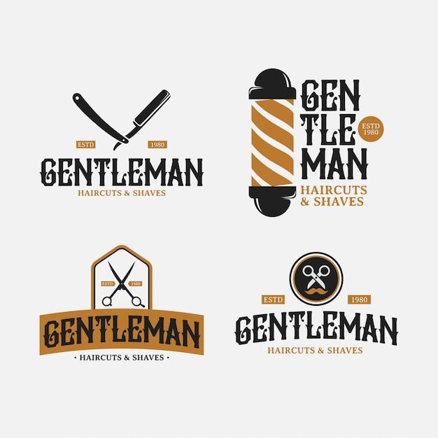 Barbershop retro logo design pack Vecteur Premium