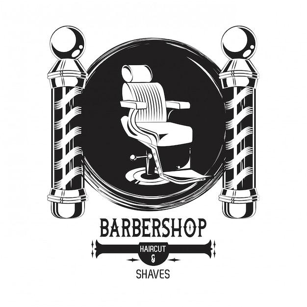 Barbershop vintage emblème noir et blanc Vecteur Premium