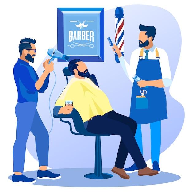 Barbiers avec ventilateur et peigne faisant la coupe de cheveux du client Vecteur Premium