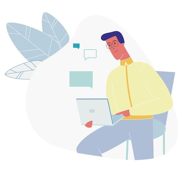 Barbu assis avec un ordinateur portable causant sur internet Vecteur Premium
