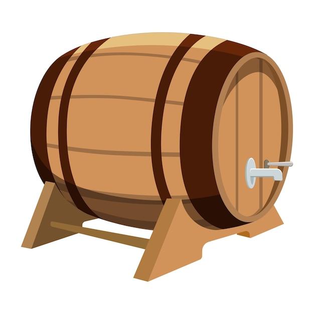 Baril De Bière Sur Fond Blanc. Illustration De Dessin Animé De Baril Avec De La Bière. Vecteur Premium