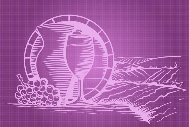 Baril de raisin de vin, verre et pichet Vecteur Premium
