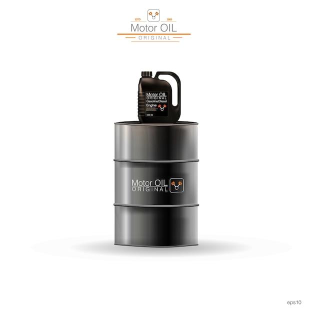 Barils Métalliques, Bidon En Plastique Sur Fond Blanc, Illustration Vecteur Premium