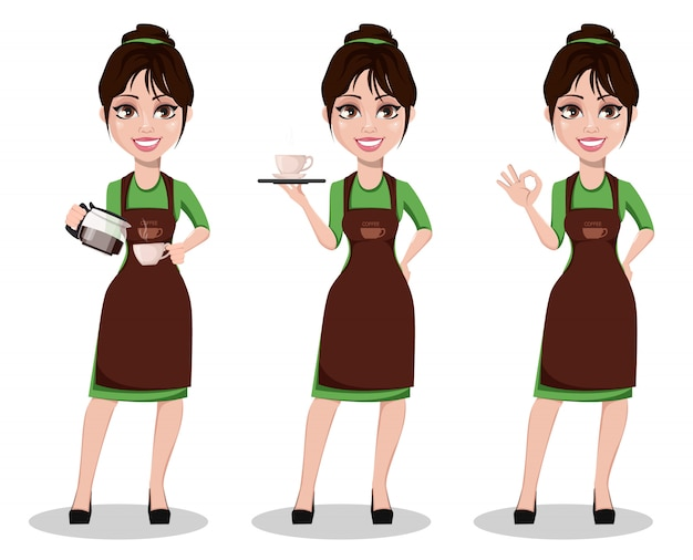 Barista femme en uniforme professionnel Vecteur Premium