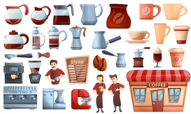 Barista Icons Set, Style De Bande Dessinée Vecteur Premium