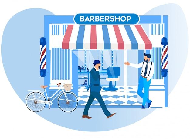 Un barker invitant les piétons à se rendre dans le nouveau salon de coiffure Vecteur Premium