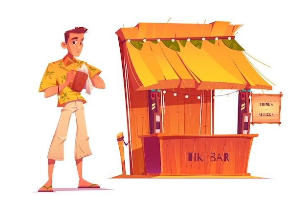 Barman Et Bar Tiki En Bois Avec Des Masques Tribaux Isolé Sur Fond Blanc Vecteur gratuit