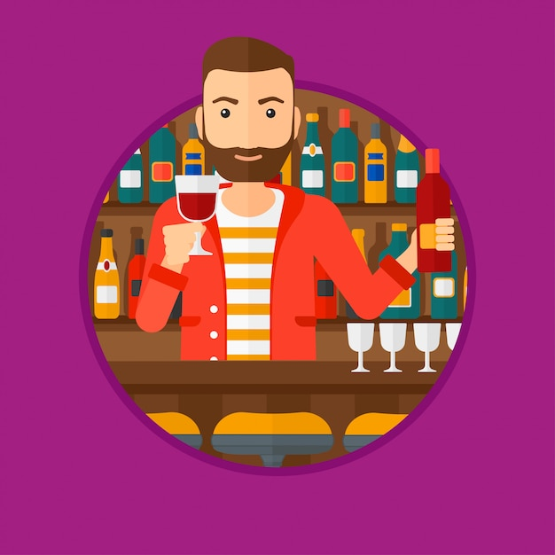 Barman debout au comptoir du bar. Vecteur Premium