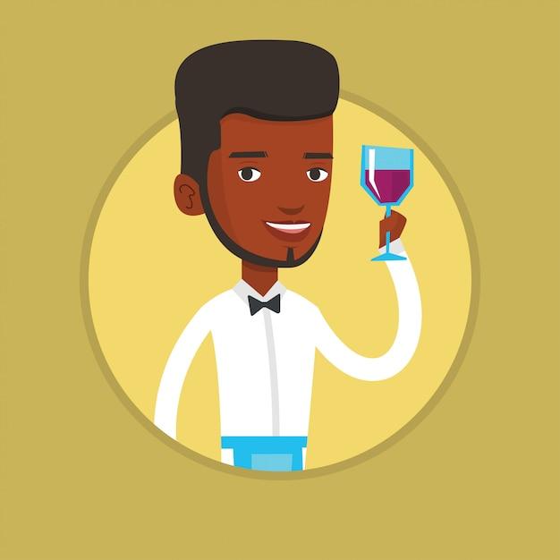 Barman Tenant Un Verre De Vin à La Main. Vecteur Premium