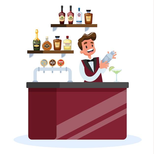 Barman En Uniforme Debout Au Comptoir Vecteur Premium