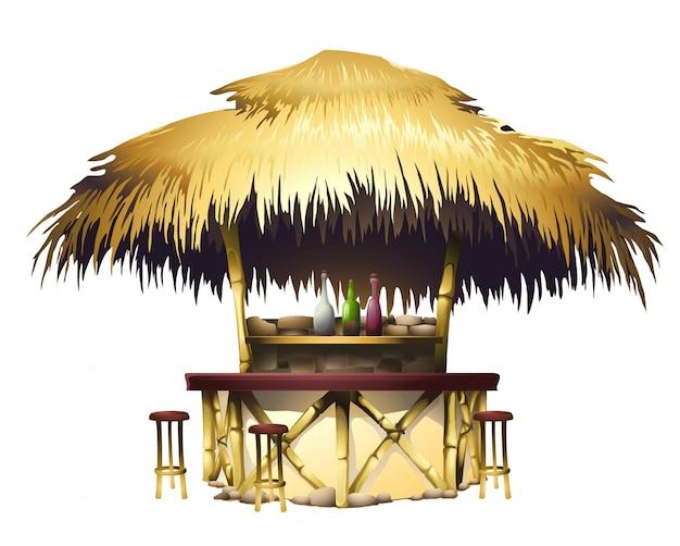 Barre de bungalows tropicale réaliste Vecteur Premium
