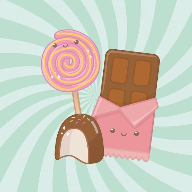 Barre De Chocolat Sucré Et Bonbons Caractères Kawaii