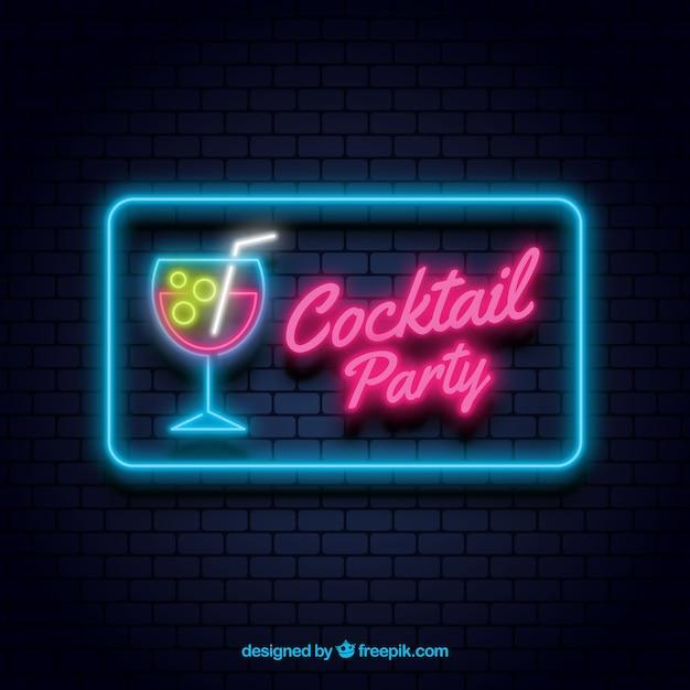 Barre de cocktail signe avec un style néon Vecteur gratuit