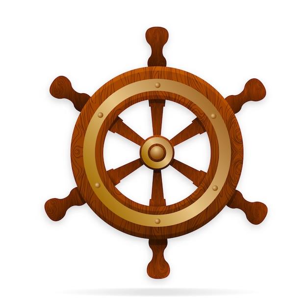 La barre est le volant du navire. Vecteur Premium