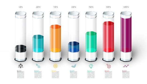 Barres graphique infographie avec tube de verre 3d coloré. Vecteur Premium