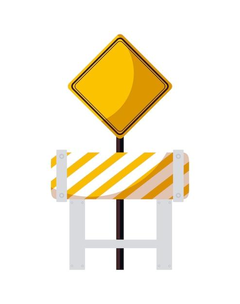Barricade avec icône isolé de signalisation Vecteur Premium