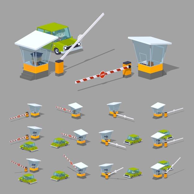 Barrière isométrique 3d lowpoly, stand et voiture verte Vecteur Premium