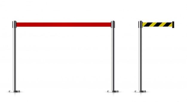 Barrière métallique avec une ceinture à contrôler. Vecteur Premium