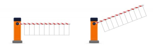 Barrière de parking ouverte et fermée, barrière d'arrêt Vecteur Premium