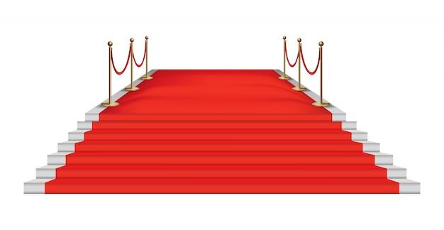 Barrières Dorées Sur Le Tapis Rouge. événement Exclusif. Vecteur Premium