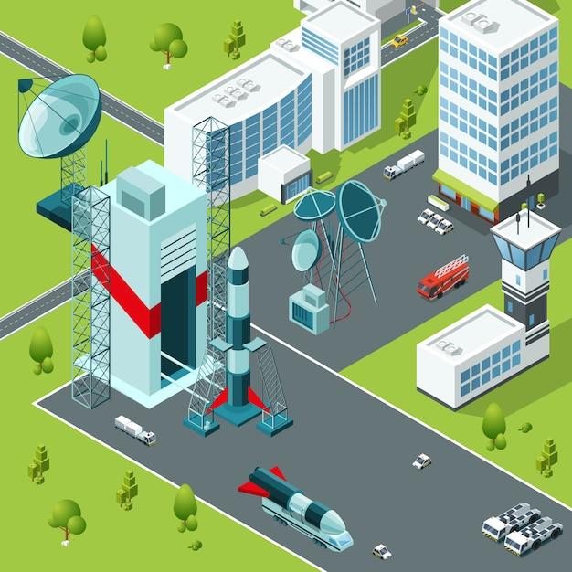 Base de lancement du spaceport. bâtiments isométriques Vecteur Premium