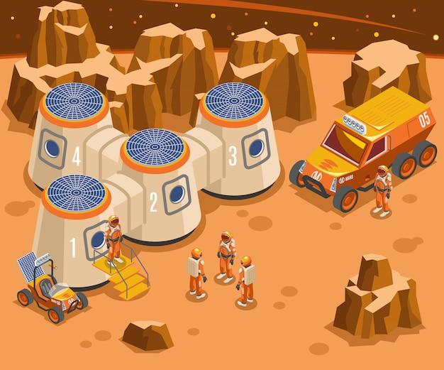 Base Sur Mars Illustration Isométrique Vecteur gratuit