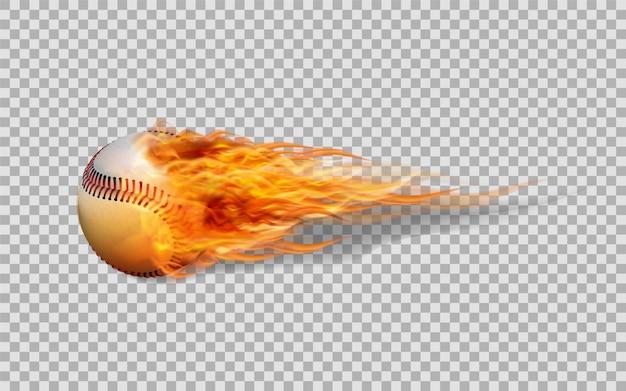 Baseball de vecteur réaliste en feu sur fond transparent. Vecteur Premium
