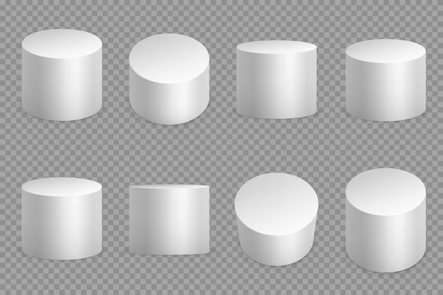 Bases Rondes De Podium 3d. Piédestal Solide Cylindrique Blanc. Fondation Circulaire Pilier Isolée Vecteur Premium
