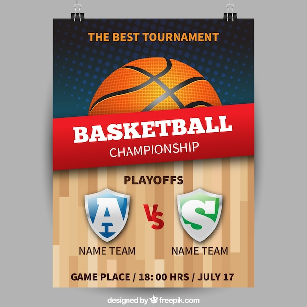 Basket-ball affiche du championnat Vecteur gratuit