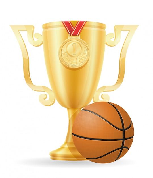 Basket-ball vainqueur d'or Vecteur Premium