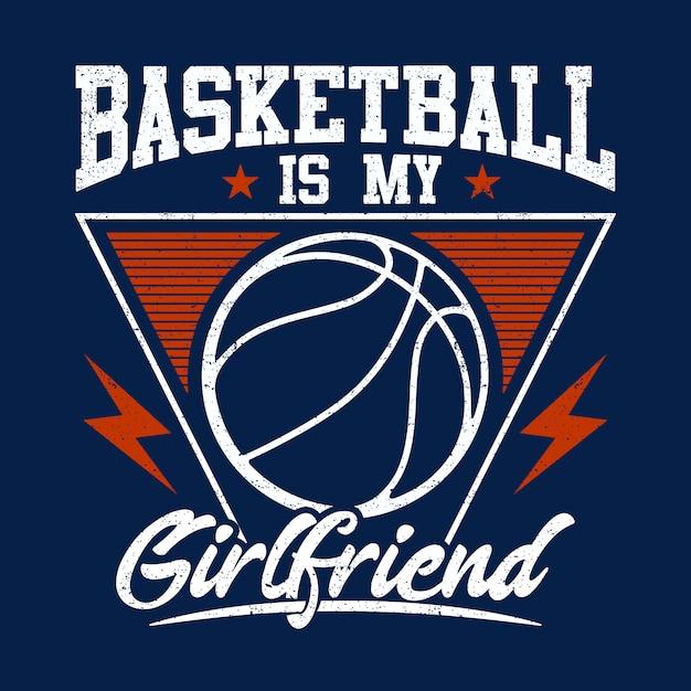 Basketball est mon fond de petite amie Vecteur Premium