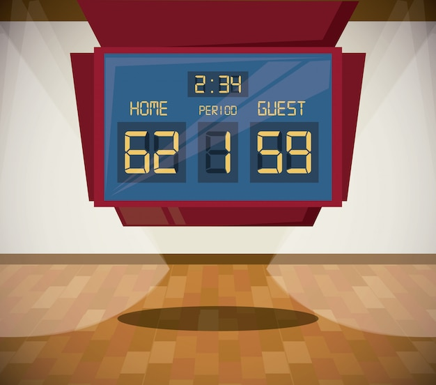 Basketball sport dessin animé paysage de jeu Vecteur gratuit