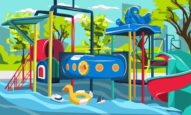 Bassin aquatique pour enfants avec aire de jeux avec tunnels et glissades Vecteur Premium
