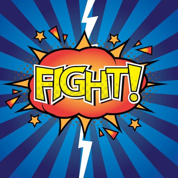 Bataille contre lettres de combat bande dessinée avec effet Vecteur Premium