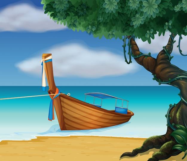 Un bateau en bois au bord de la mer Vecteur gratuit