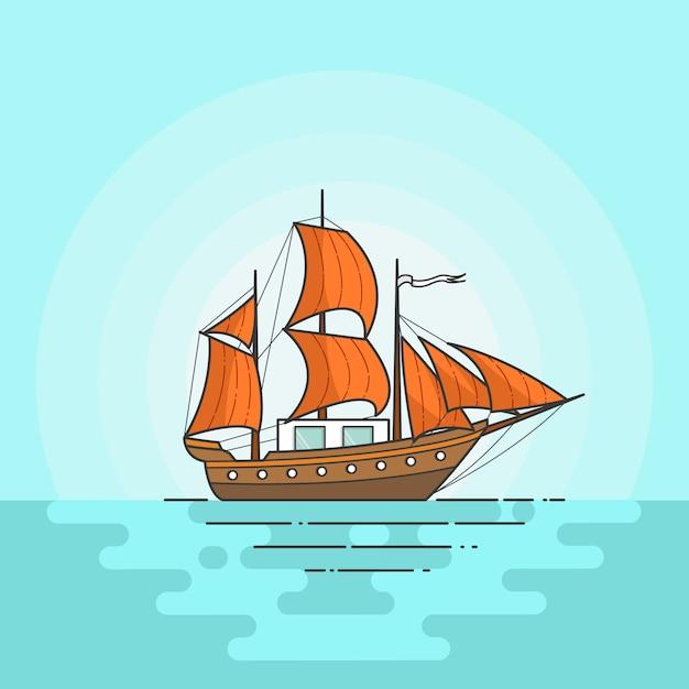 Bateau De Couleur Avec Des Voiles Orange En Mer Isole Sur Fond Blanc Banniere De Voyage