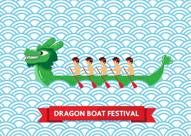 Bateau Dragon Vert Sur Fond Abstrait Bleu Vecteur Premium
