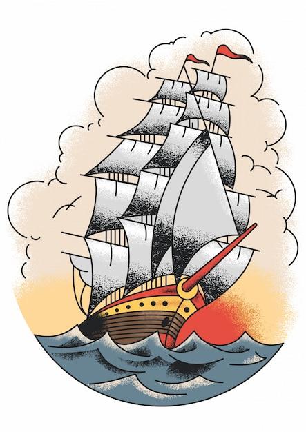 Le bateau de marin jerry Vecteur Premium