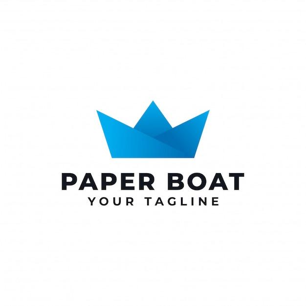 Bateau En Papier Creation De Logo Origami Navire Vecteur Premium