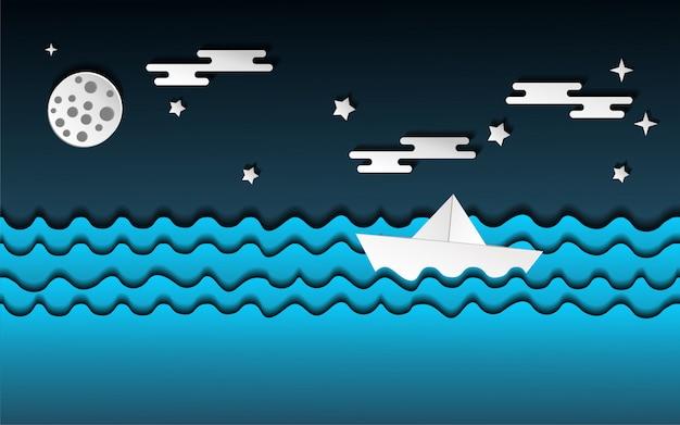 Bateau en papier sur l'illustration de la mer Vecteur Premium