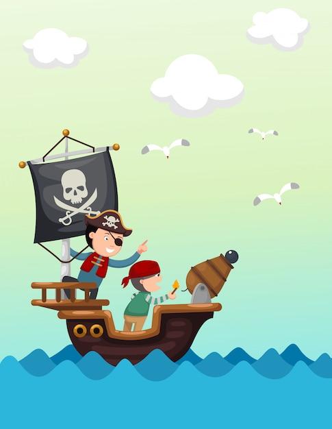 Bateau de pirate beau paysage Vecteur Premium