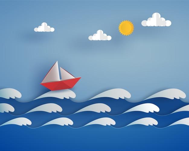 Bateau rouge en origami dans l'océan sur la vague de la mer. conception d'illustrateur de vecteur dans le concept de papier découpé. Vecteur Premium