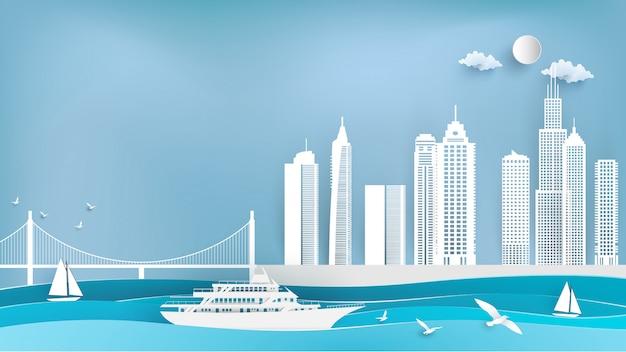 Bateaux de croisière et villes en papier Vecteur Premium