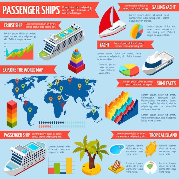 Bateaux à passagers yachts bateaux infographie isométrique Vecteur gratuit