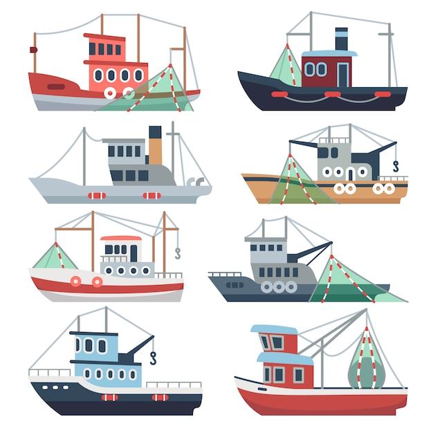 Bateaux de pêche en mer Vecteur Premium